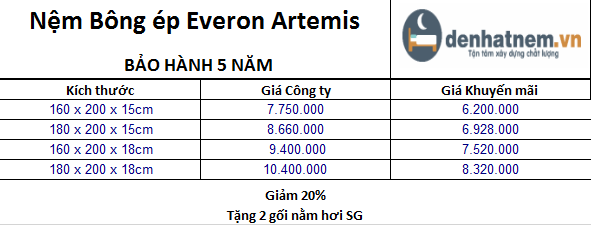 Cập nhật bảng giá Nệm Everon Artemis mới nhất tại Đệ Nhất Nệm