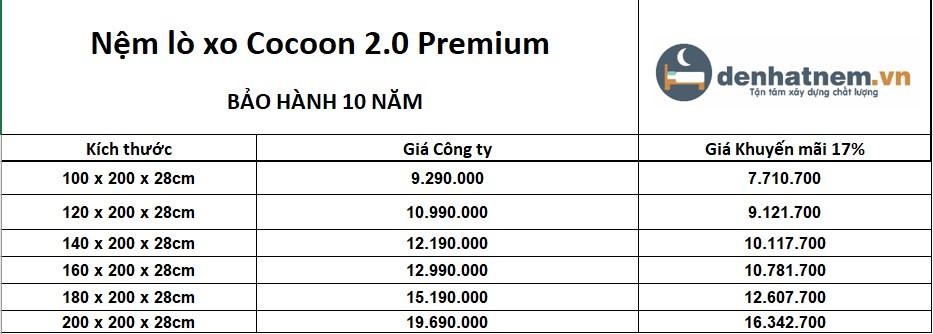 Bảng giá nệm cocoon 2.0 premium