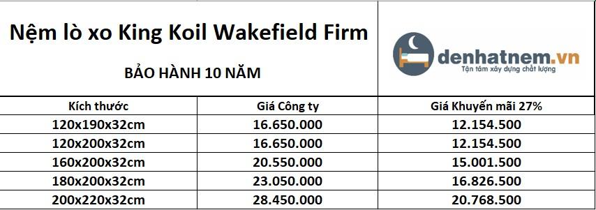 Bảng giá nệm lò xo Wakefield Firm
