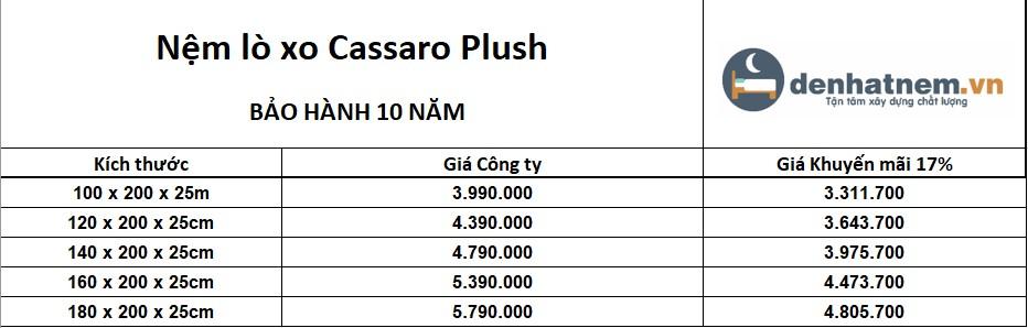 Cassaro Plush khuyến mãi 17% + quà hấp dẫn