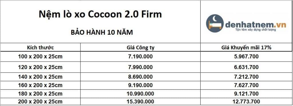 Nệm lò xo túi Cocoon 2.0 Firm khuyến mãi 17% + quà