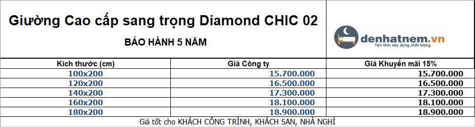 Bảng giá giường Kim Cương Diamond Chic 02