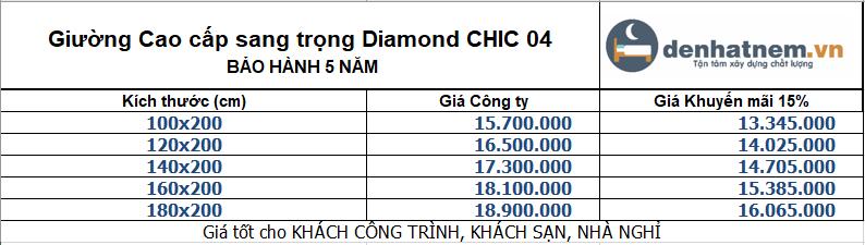 Bảng giá giường Diamond Chic 04