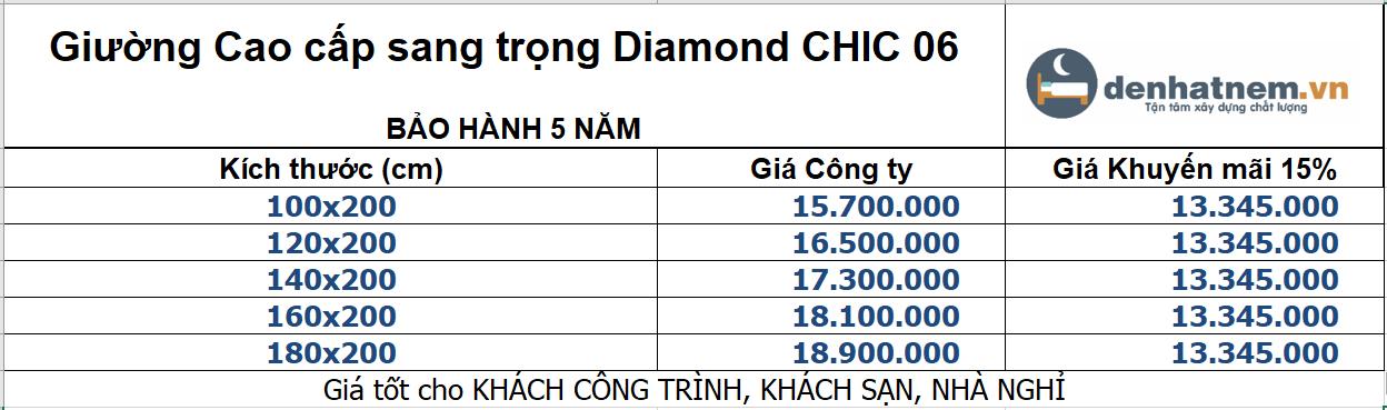 Bảng giá giường Diamond cao cấp