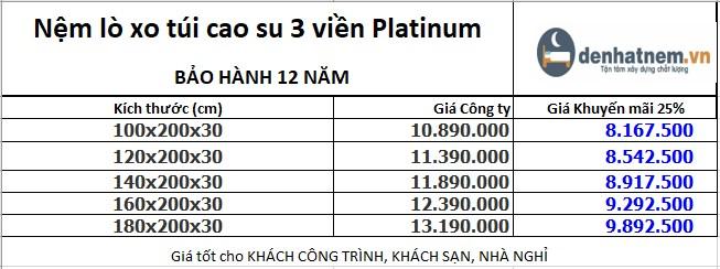 Bảng giá nệm lò xo túi cao su Platinum 3 viền