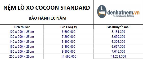 Cocoon Standard khuyến mãi 23% + quà