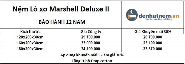 bảng giá nệm lò xo Marshall Deluxe 2