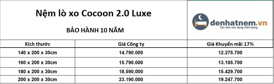 Nệm lò xo Cocoon 2.0 Luxe khuyến mãi 17% + quà