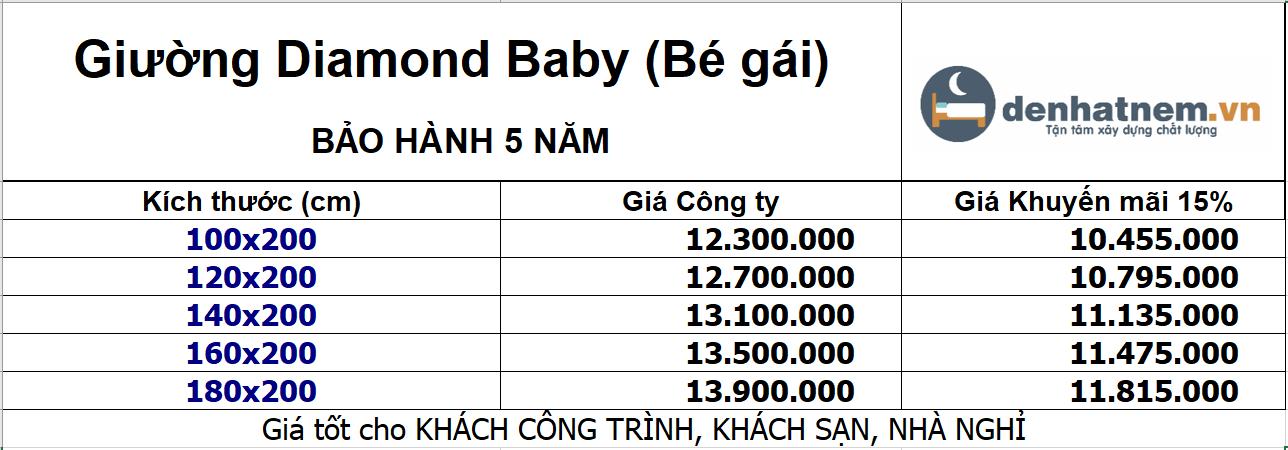 Giường Diamond Baby khuyến mãi 15%