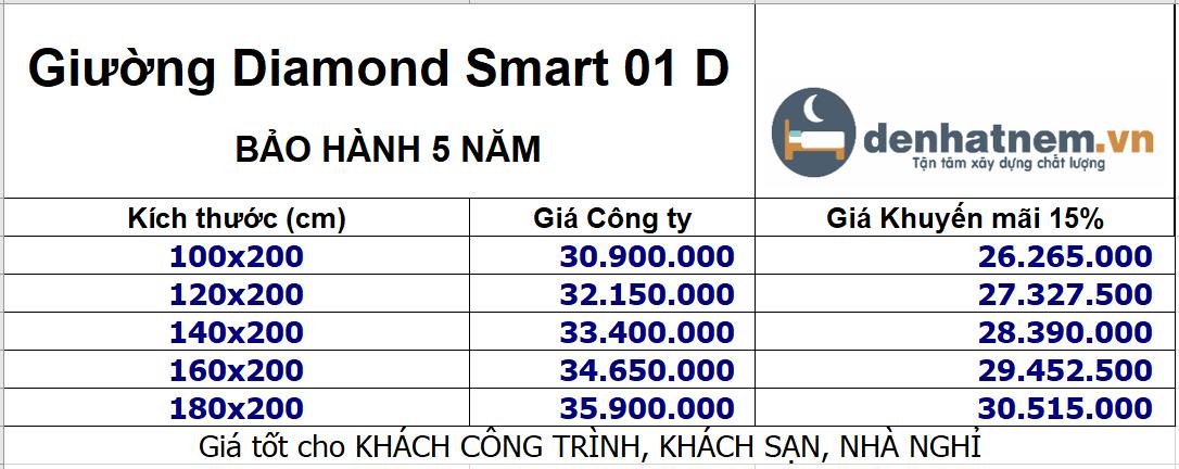 Giường Diamond Smart khuyến mãi 15%