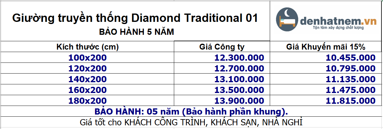 bảng giá giường diamond tranditional