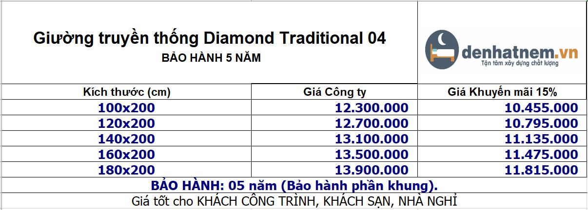 bảng giá giường kim cương traditional