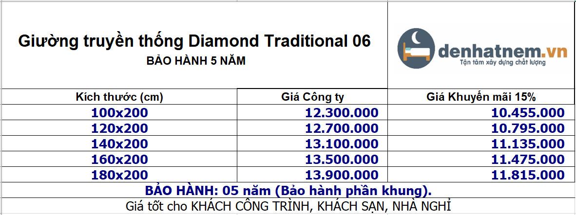 Giường truyền thống Diamond Traditional khuyến mãi 15%