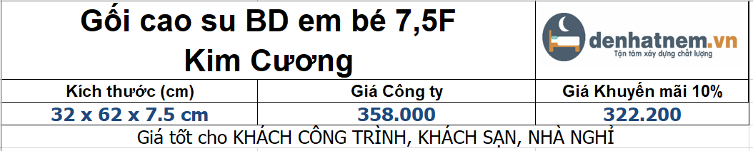 Bảng giá gối BD em bé 7.5F
