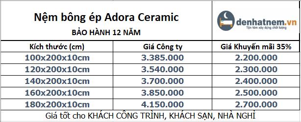 Bảng giá nệm Adora Ceramic