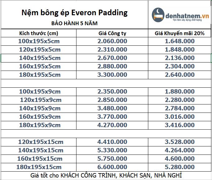 Everon Padding khuyến mãi 20% + quà hấp dẫn