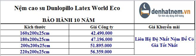 Nệm cao su Dunlopillo Latex World Eco