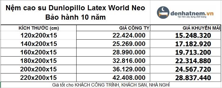 Bảng giá nệm Latex World Neo khuyến mãi 32% + quà hấp dẫn