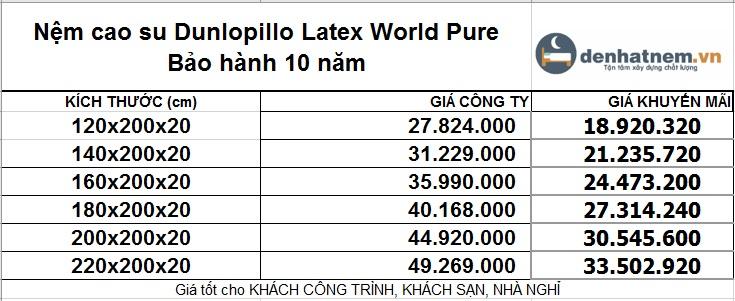 Bảng giá nệm Latex World Pure mới nhất khuyến mãi 32% + quà