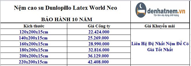 Cập nhật giá nệm Latex World Neo