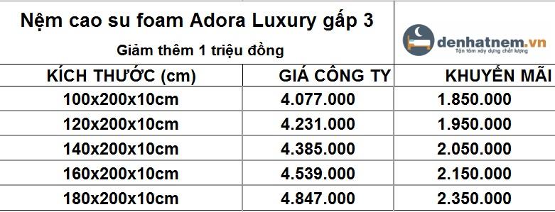 Bảng giá nệm cao su foam Adora Luxury gấp 3 giảm thêm 1 triệu đồng