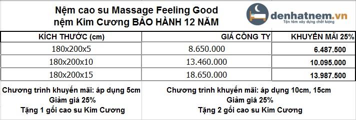 Bảng giá nệm cao su Massage 1m8