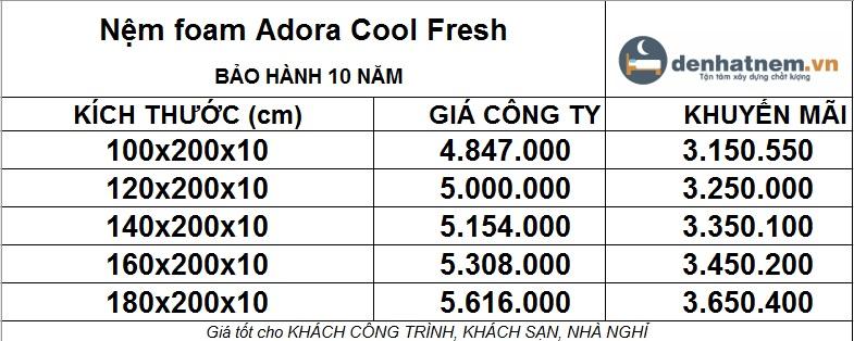 Nệm Foam Adora Cool Fresh khuyến mãi 35% + quà