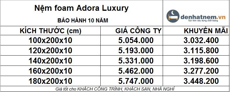 Bảng giá Adora Luxury mới nhất khuyến mãi 40% + quà