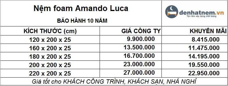 Amando Luca hiện đang khuyến mãi 15% + quà cực hấp dẫn