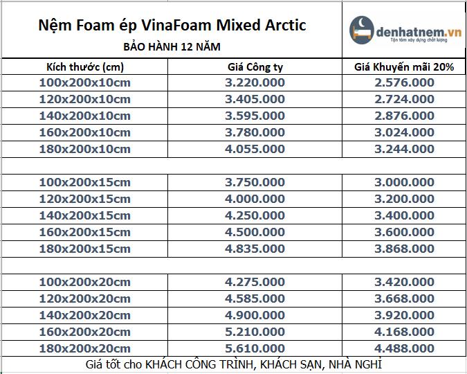 Nệm Foam ép VinaFoam Mixed Arctic khuyến mãi 205