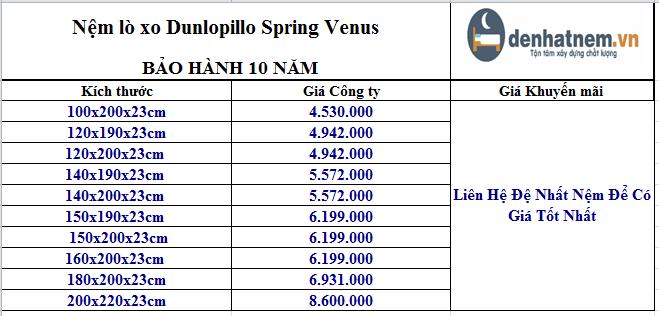 Nệm Spring Venus có giá cập nhật mới nhất