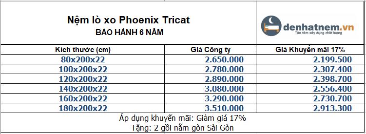 bảng giá nệm Phoenix Tricat
