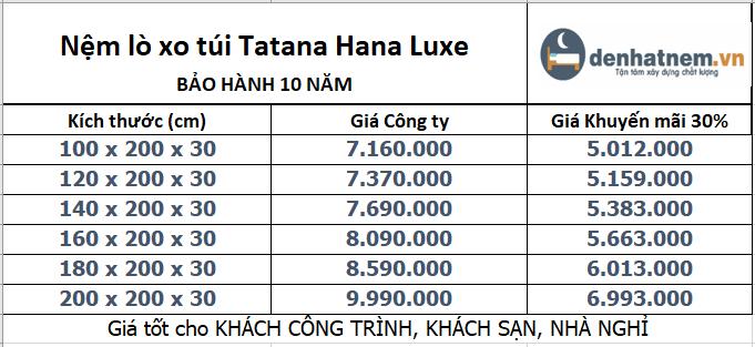 Hana Luxe khuyến mãi 30% + quà