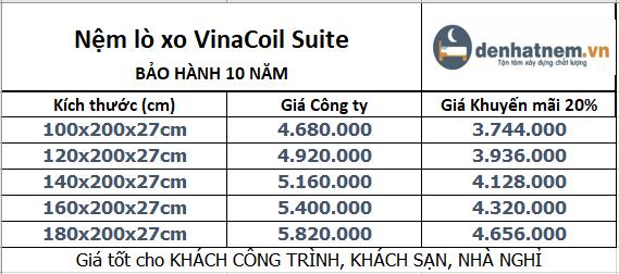 Bảng giá nệm VinaCoil Suite