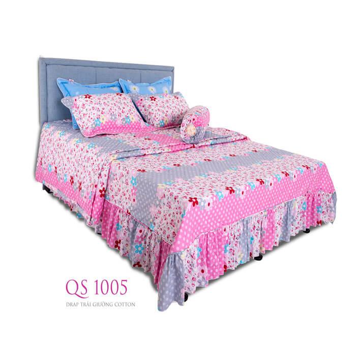 Drap trải giường cotton QS 1005 Vạn Thành