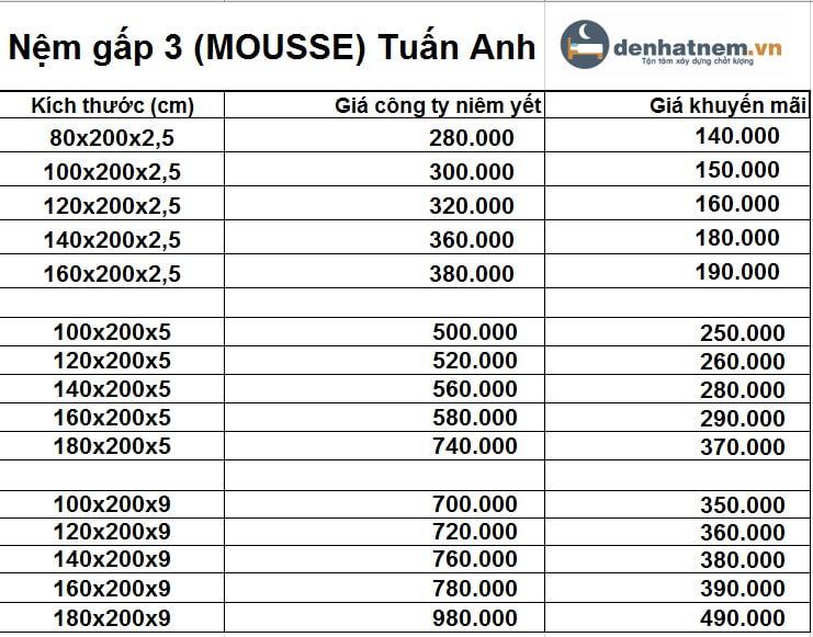 Bảng giá nệm gấp 3 PE mousse Tuấn Anh