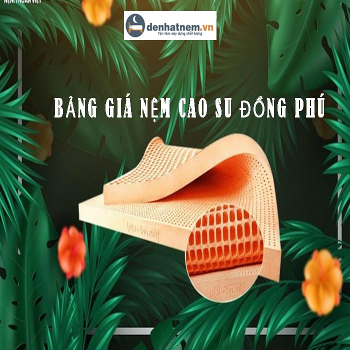 Bảng giá nệm cao su Đồng Phú khuyến mãi hấp dẫn