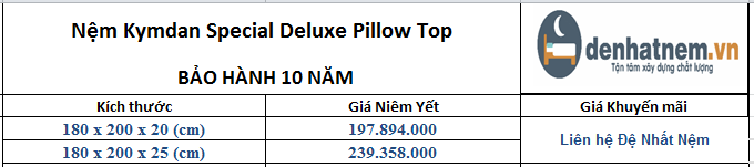 Nệm Kymdan Special Deluxe Pillow Top