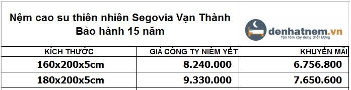Giá nệm cao su Vạn Thành Segovia 5cm mới nhất