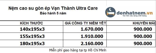 Đồng giá 900k cho tất cả các kích thước của nệm Vạn Thành Ultra Care