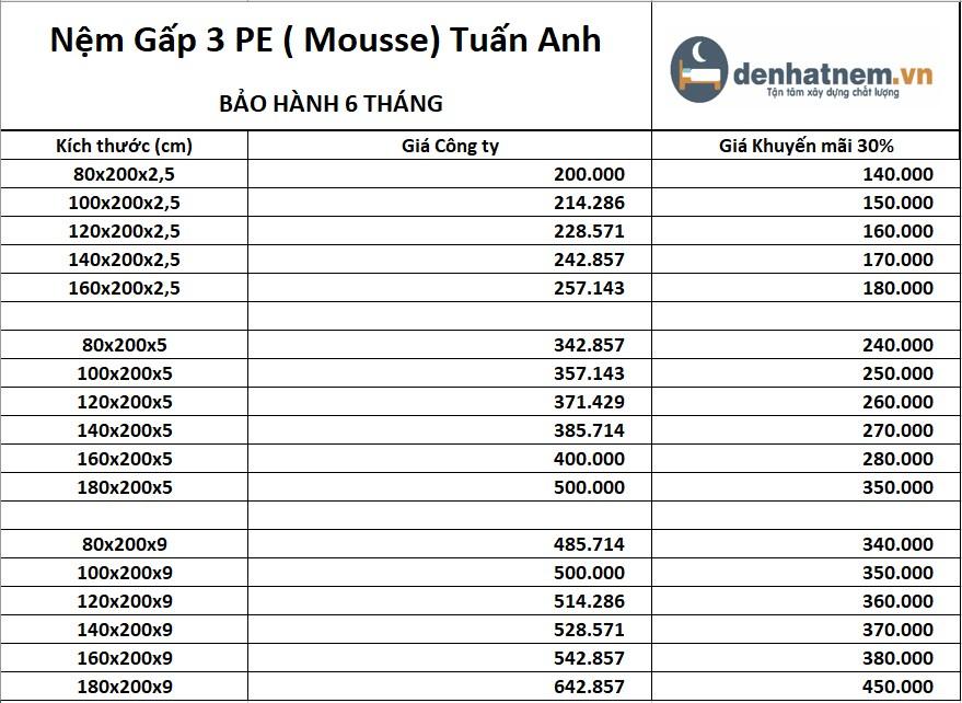 Chỉ từ 150.000đ, bạn đã sở hữu được chiếc nệm mỏng PE Mousse Tuấn Anh
